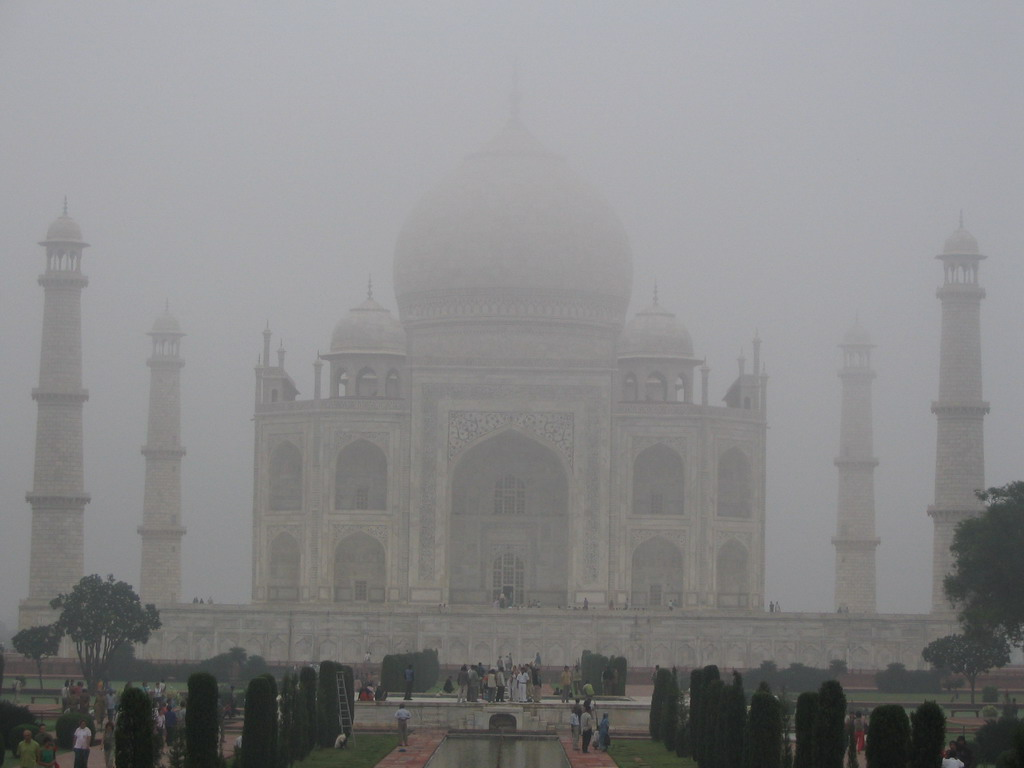 Front of the Taj Mahal, in the mist