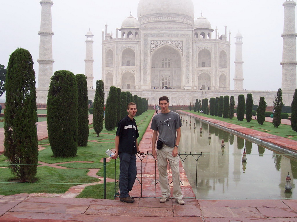 Tim and Rick in front of the Charbagh Garden with the reflecting pool and the Taj Mahal