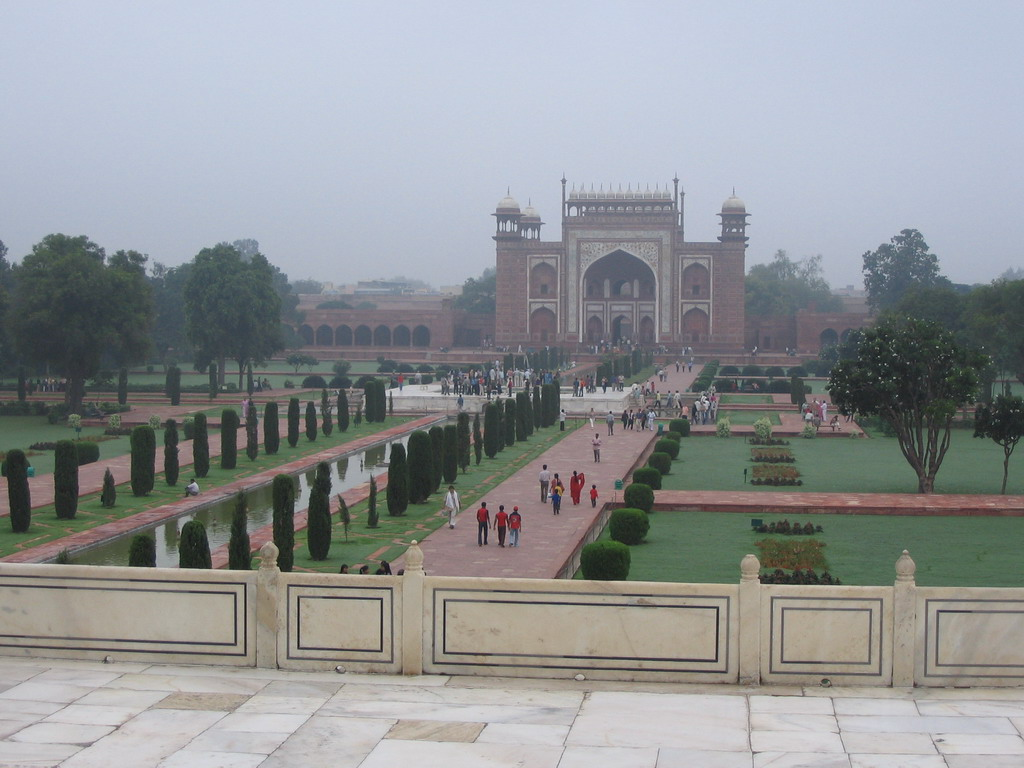View on the Great Gate (Darwaza-i rauza) and garden, from the Taj Mahal