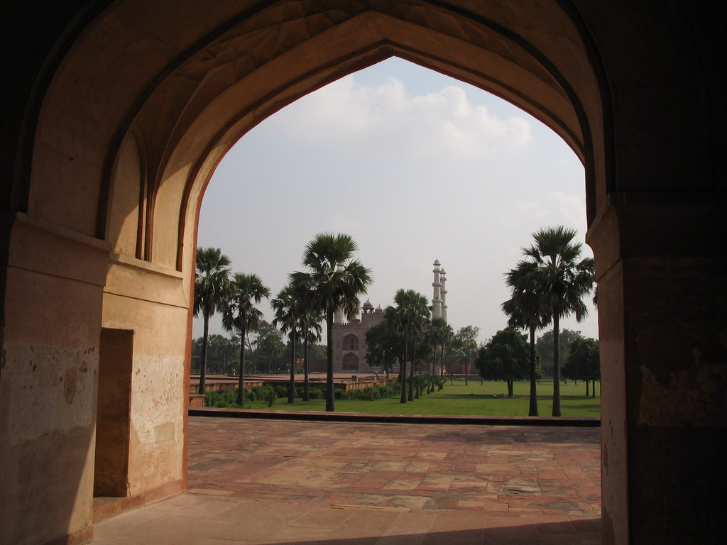 Entrance gate and gardens, viewed from Akbar`s Tomb at Sikandra
