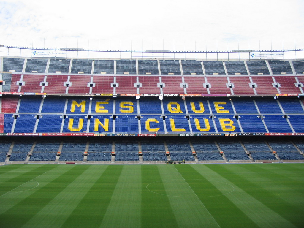Inside the Camp Nou stadium