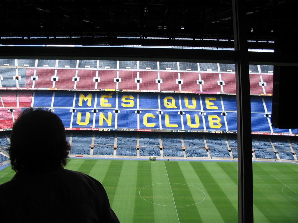 View from the commentator room of the Camp Nou stadium