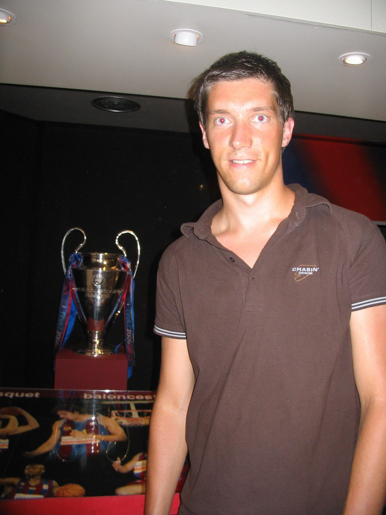 Tim with a European Cup, in the FC Barcelona Museum of the Camp Nou stadium