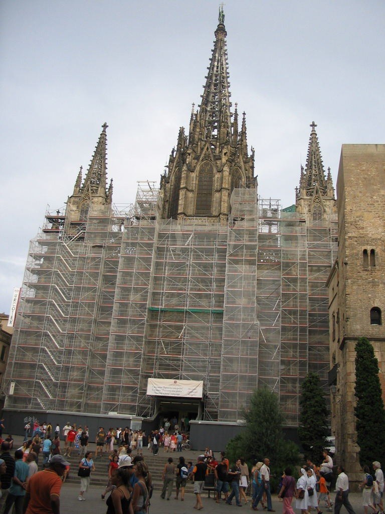 Front of the Cathedral of Santa Eulalia at the Pla�a Nova square