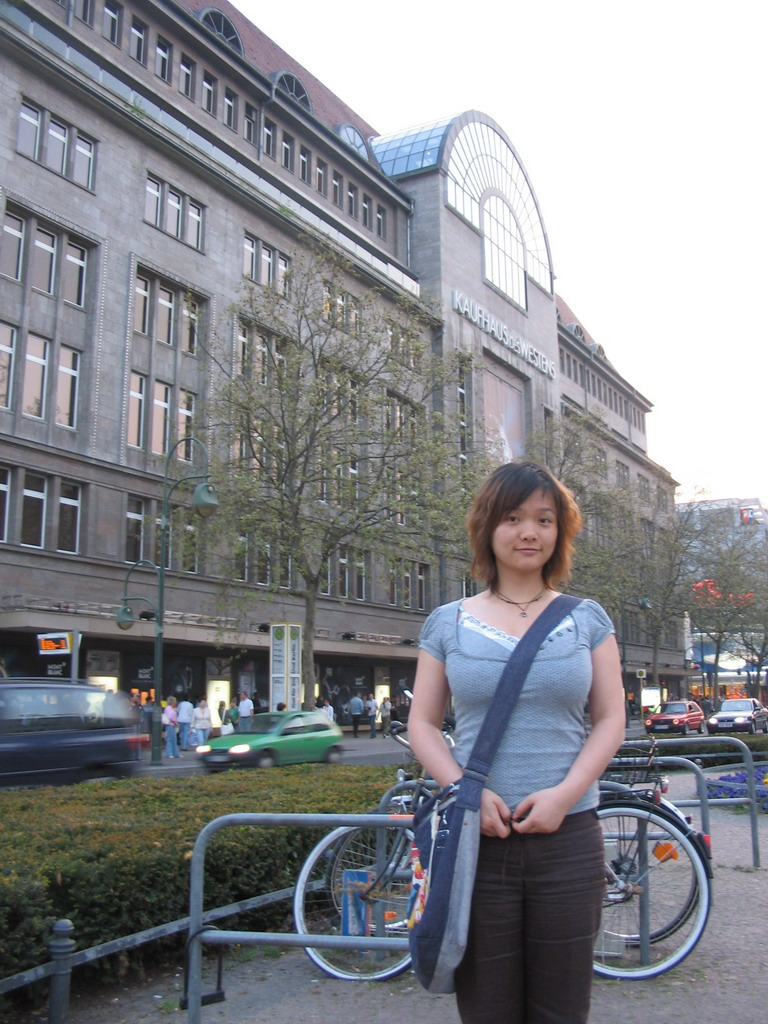 Miaomiao in front of the Kaufhaus des Westens department store at the Tauentzienstra�e street