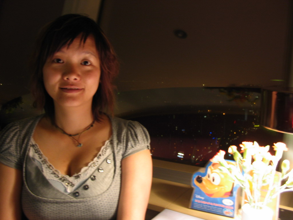 Miaomiao in the Telecaf� restaurant on top of the Fernsehturm tower