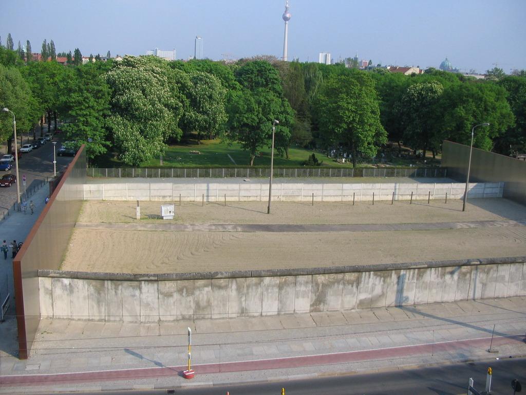Remains of the Berlin Wall at the Bernauer Stra�e street, Memorial Park, the Friedhof Sophien II cemetery and the Fernsehturm tower, viewed from the top of the Gedenkst�tte Berliner Mauer museum