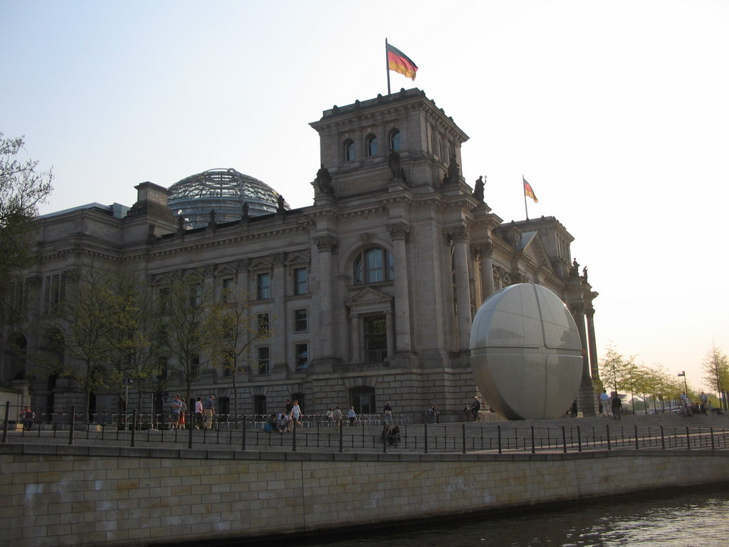 The northeast side of the Reichstag building, viewed from the tour boat on the Spree river