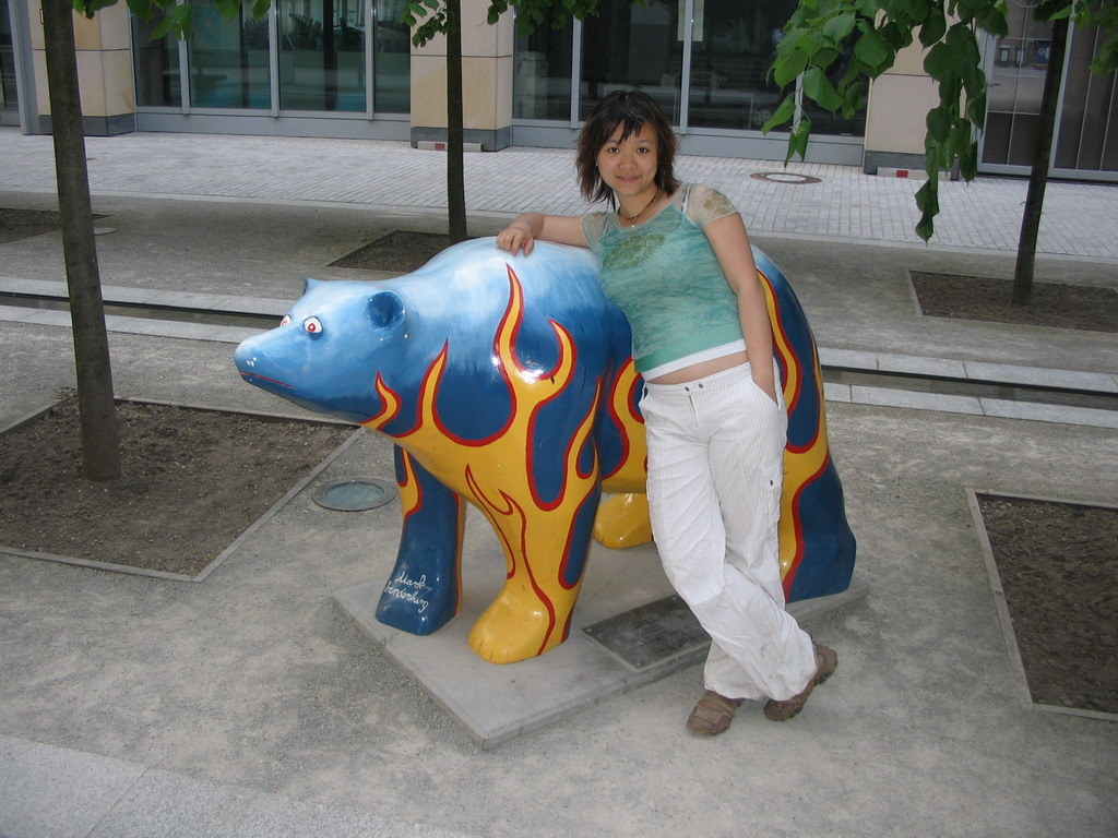 Miaomiao with a United Buddy Bear statue at the St. Wolfgang-Stra�e street