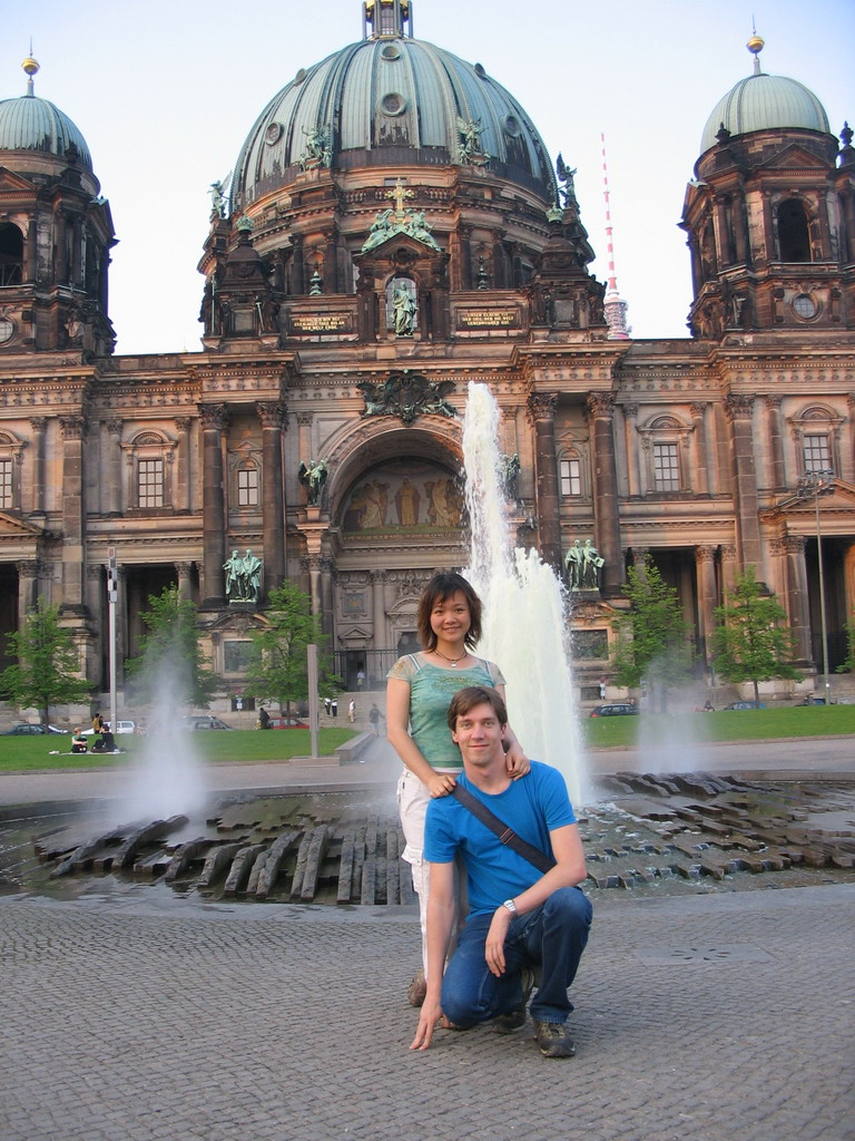 Tim and Miaomiao in front of the Lustgarten park and the Berlin Cathedral