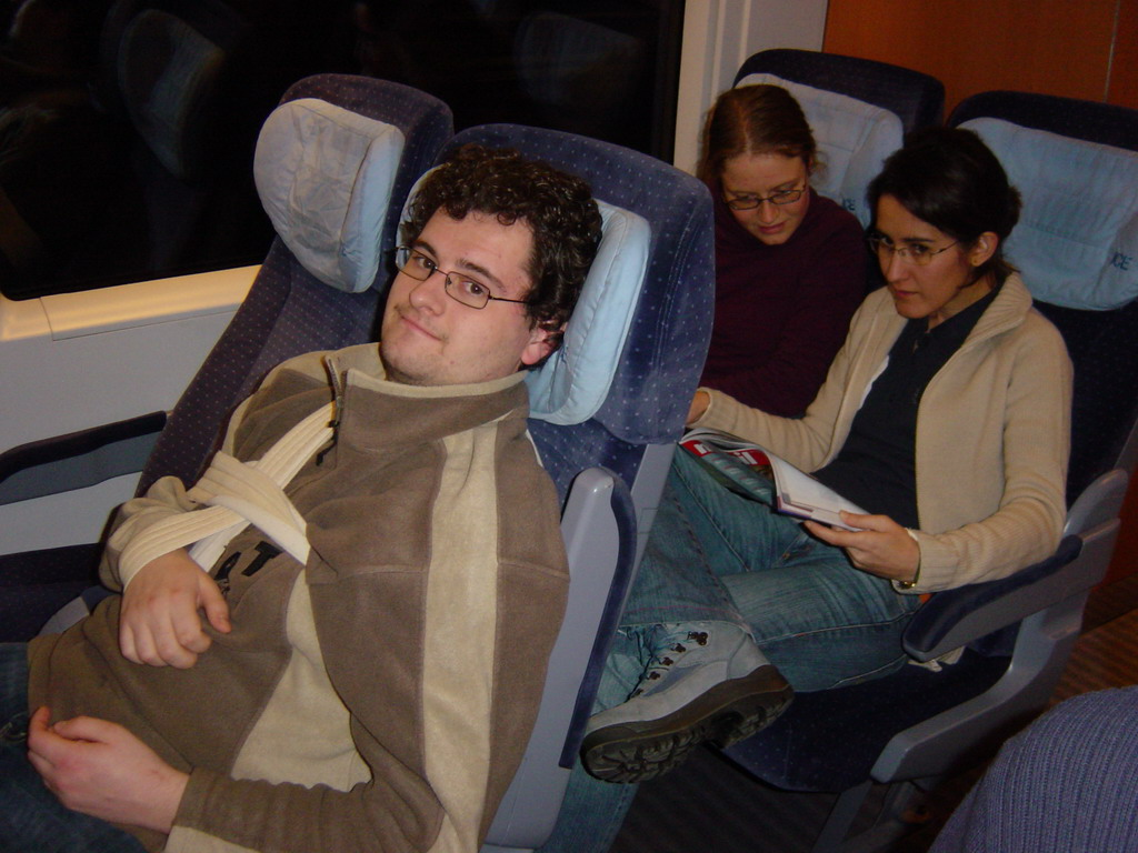 Erik, Nardy and Ana in the ICE train from Cologne to Arnhem
