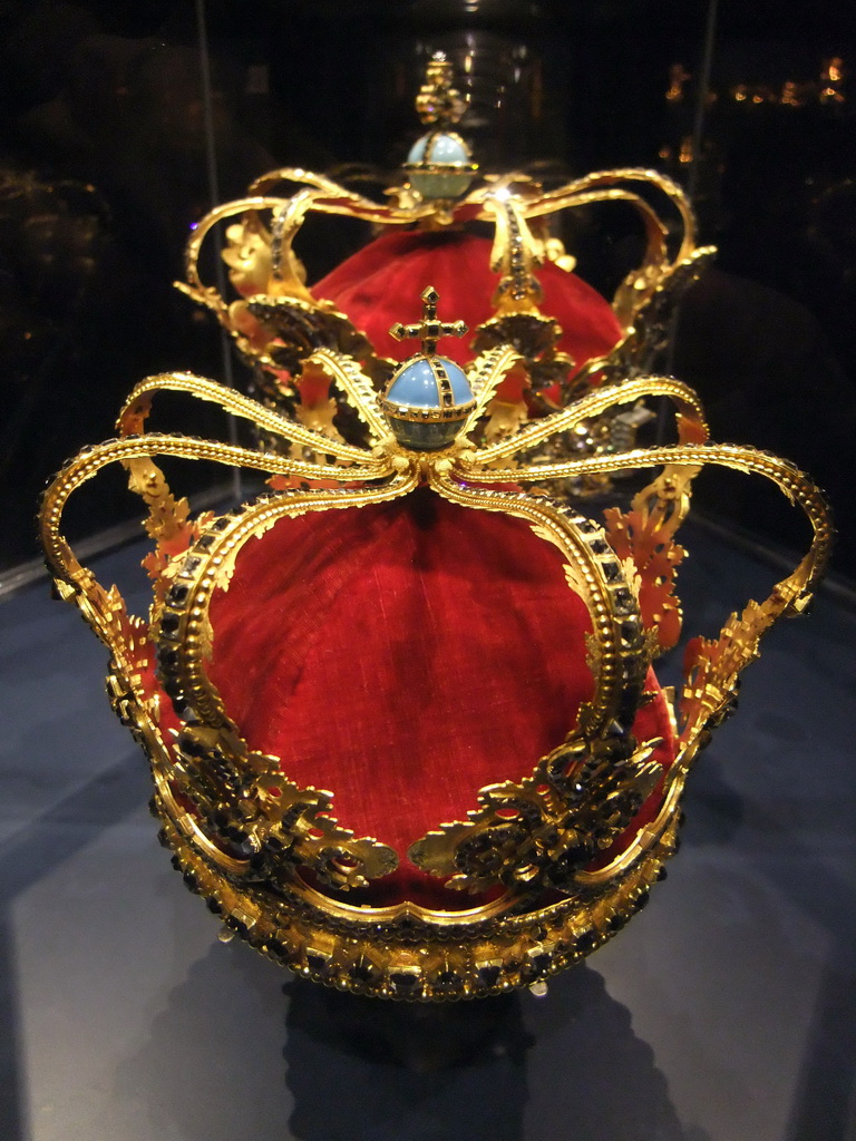 Christian V`s Crown and the Queen`s Crown in the Treasury at the basement of Rosenborg Castle