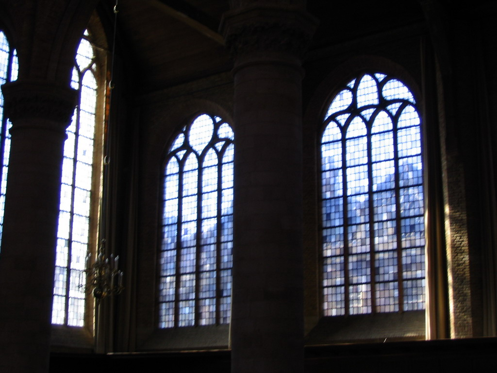 Stained glass windows in the Nieuwe Kerk church