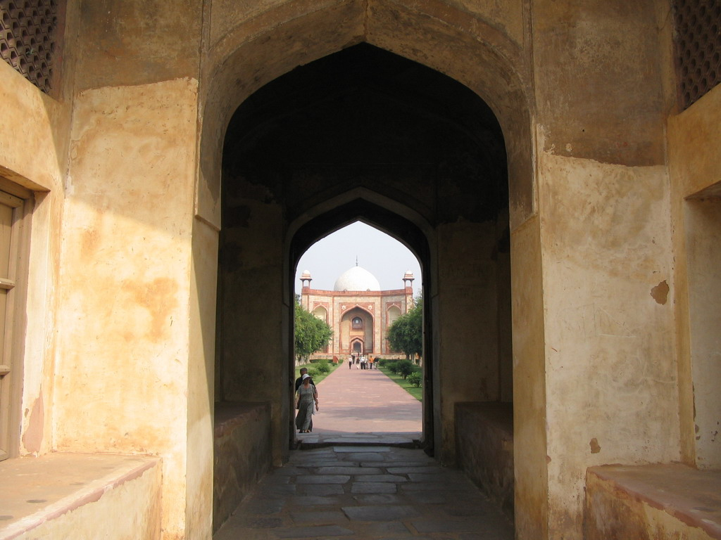 West gate to Humayun`s Tomb, viewed from within Isa Khan`s Tomb at the Humayun`s Tomb complex