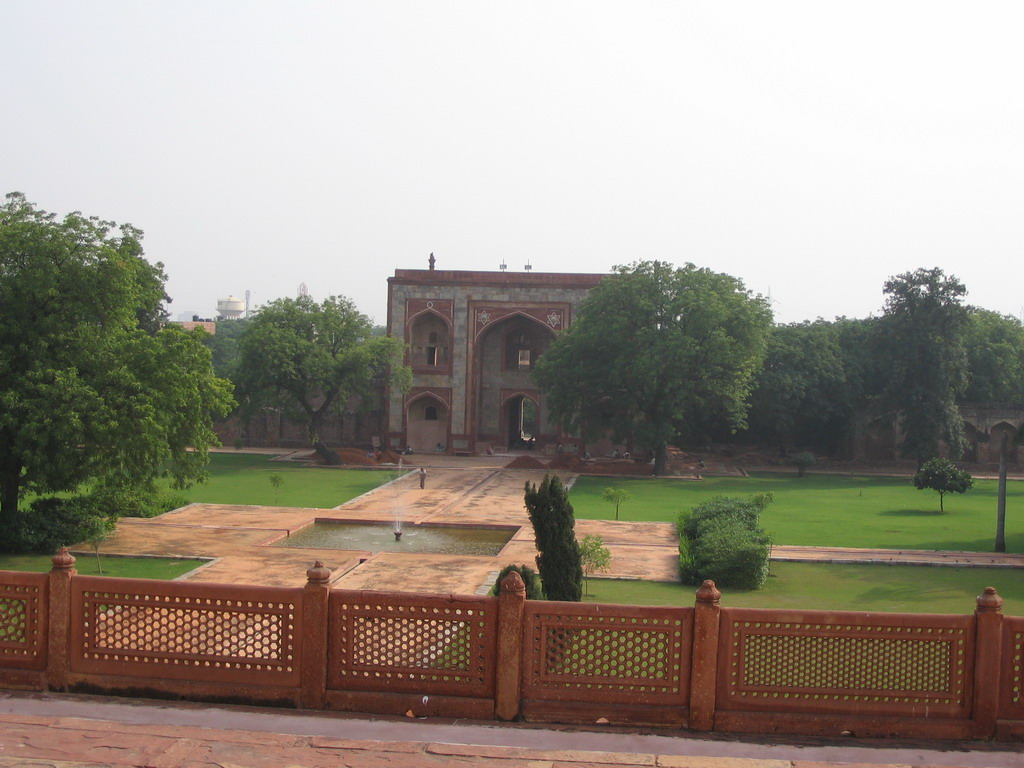 The South Gate of the Humayun`s Tomb complex, viewed from the terrace of Humayun`s Tomb