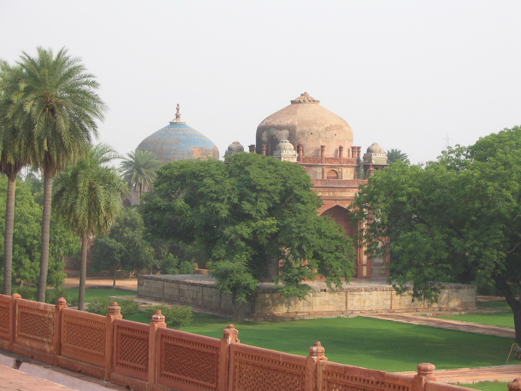 The Nila Gumbad Tomb and the Barber`s Tomb at the Humayun`s Tomb complex, viewed from the terrace of Humayun`s Tomb