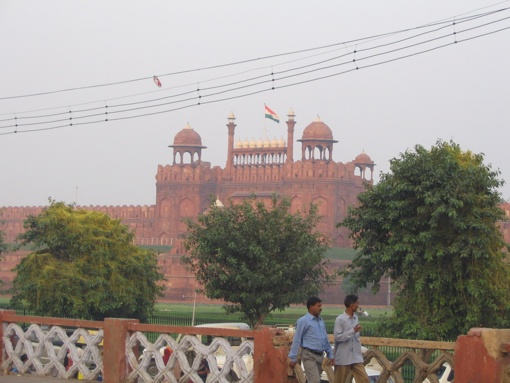 The Lahori Gate of the Red Fort, viewed from the Shri Gori Shankar Mandir temple at the Chandni Chowk road