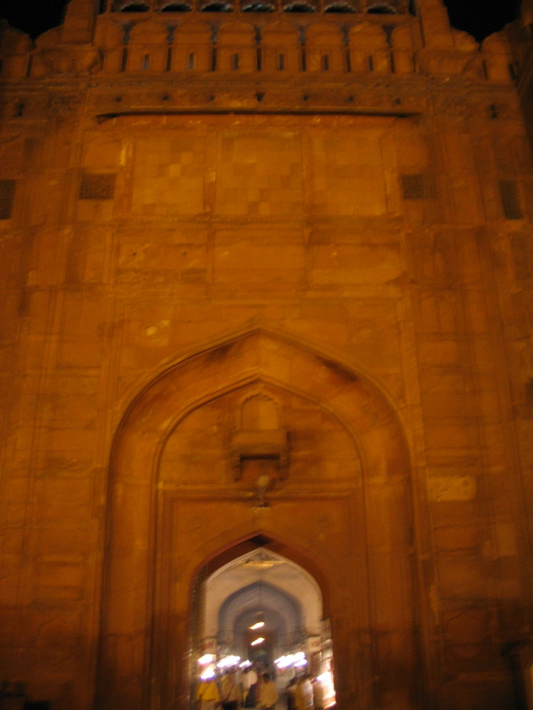 Facade of the Lahori Gate of the Red Fort, by night