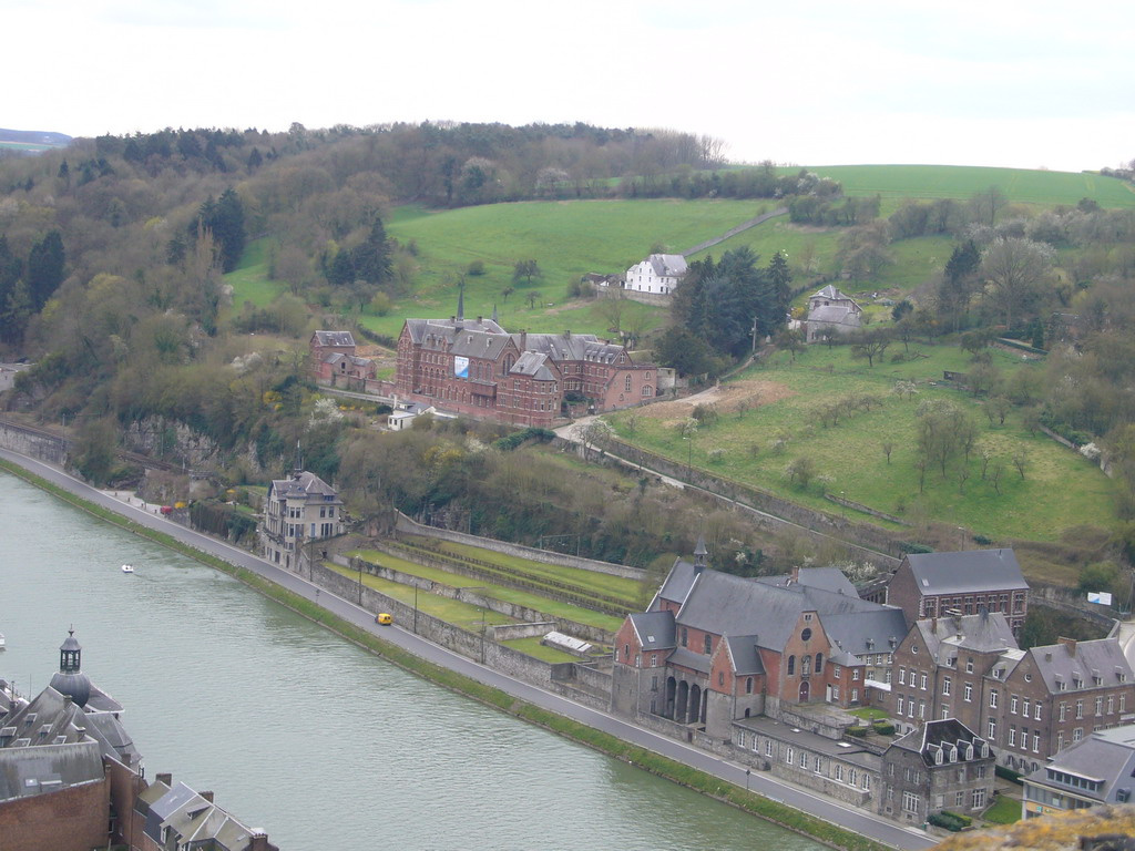The city center with the La Merveilleuse Hotel, the Villa Mouchenne restaurant and the Meuse river, viewed from the Citadel of Dinant
