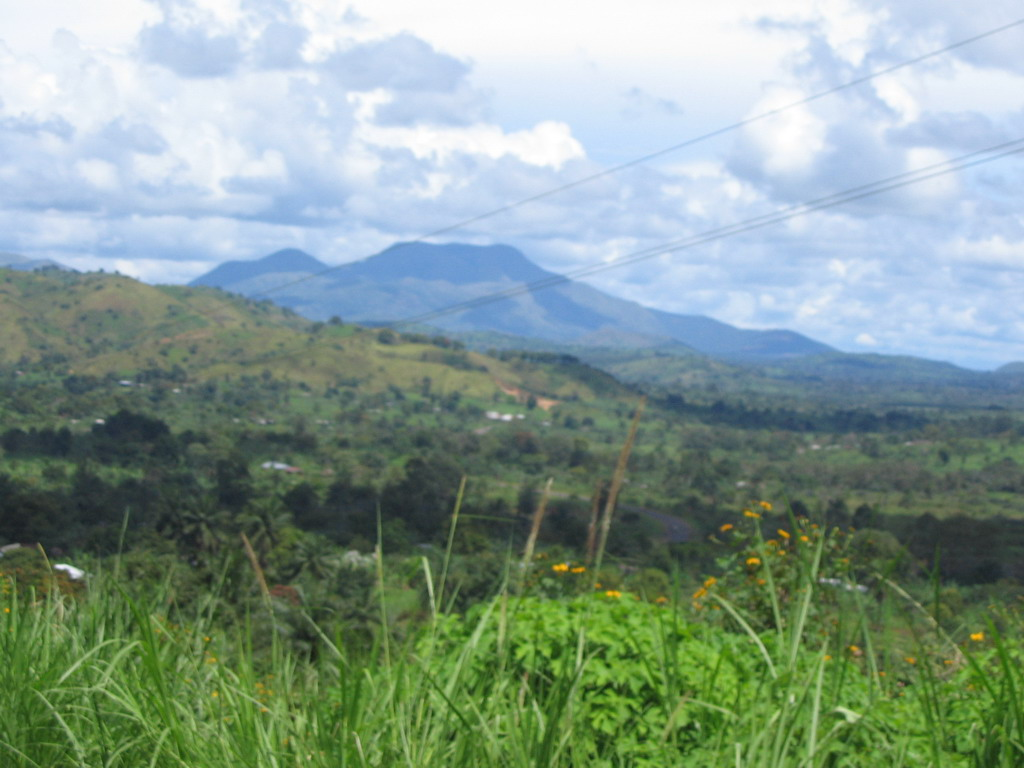 Mountains and hills along the road between Bafoussam and Foumban, viewed from the car