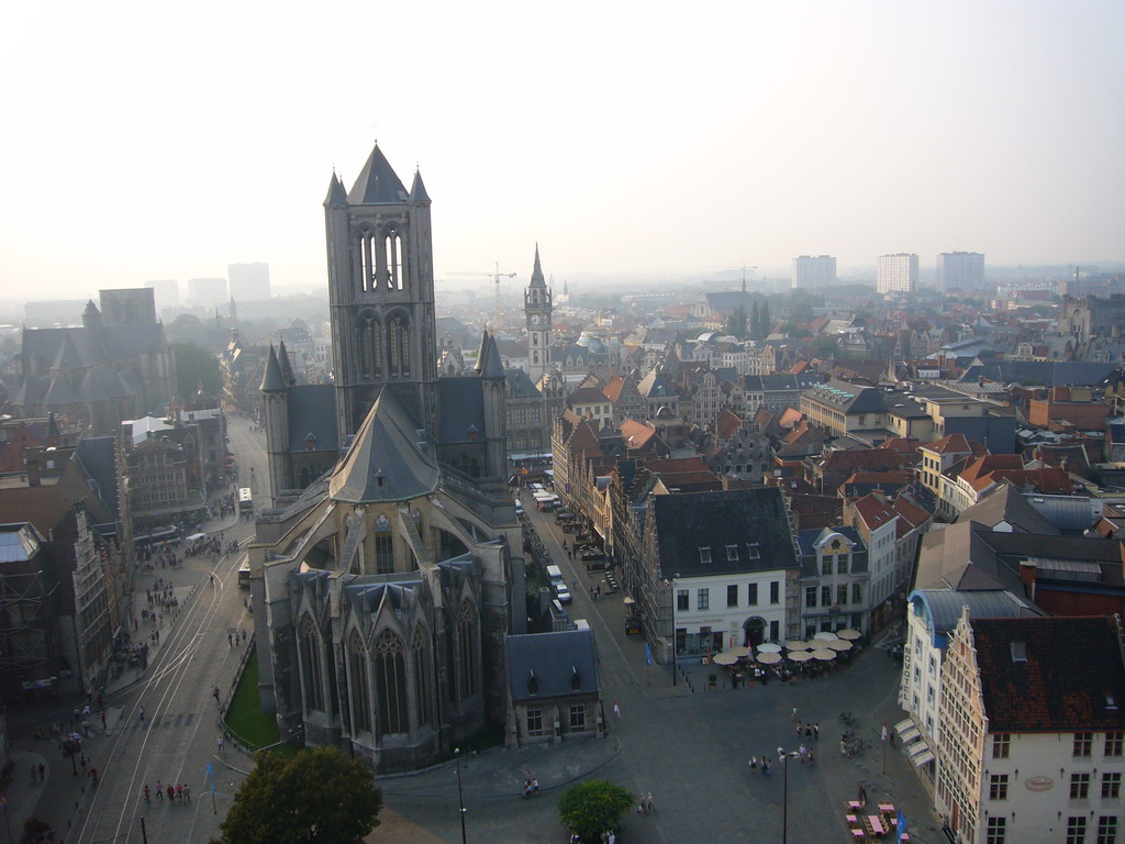 The city center with the Sint-Niklaaskerk church and the Sint-Michielskerk church, viewed from the walkway at the fourth floor of the Belfry of Ghent
