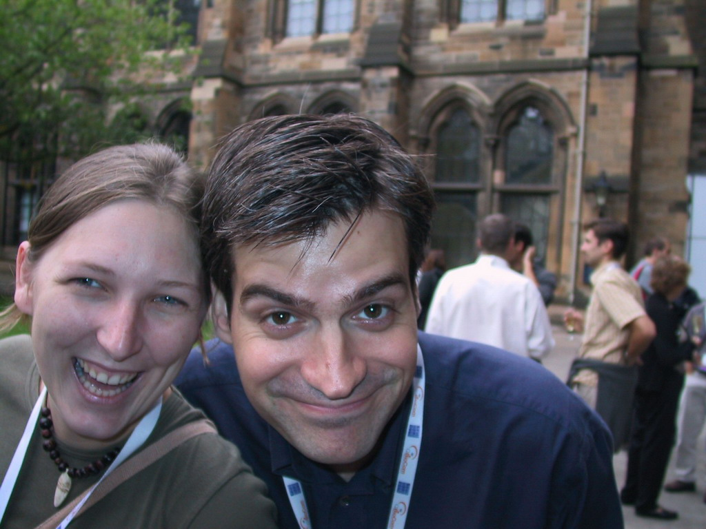 Friends at the drinks before the gala dinner of the ECCB 2004 conference at the University of Glasgow
