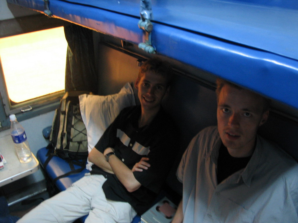 Rick and David in the Konkan Express train from Mumbai