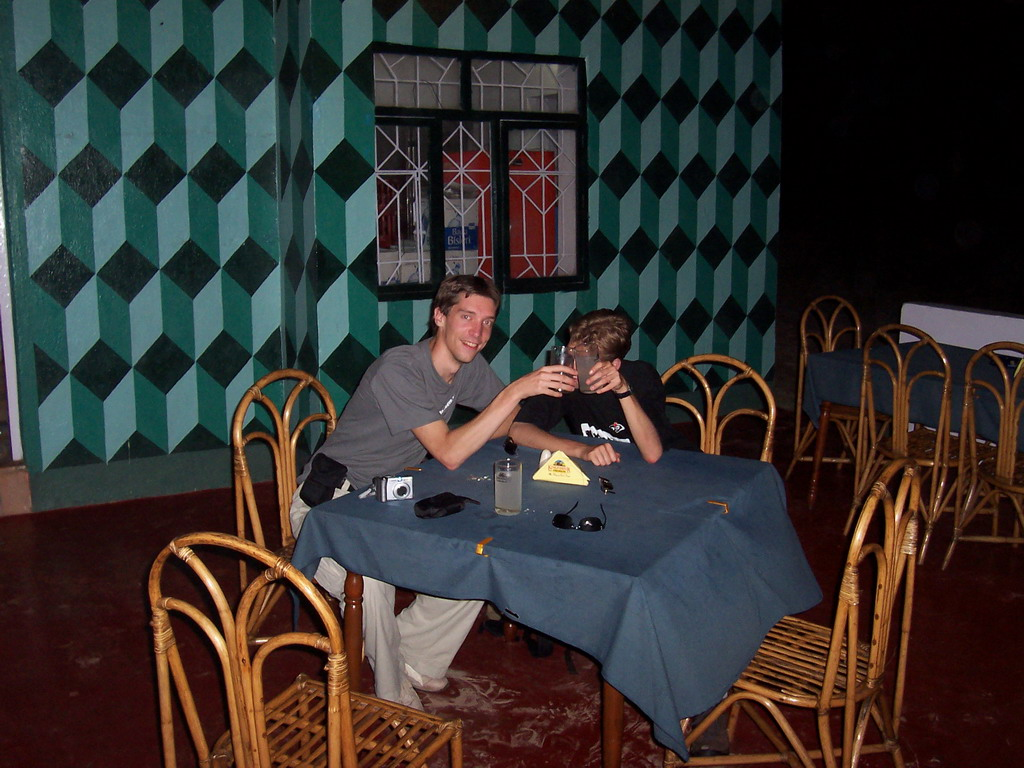 Tim and Rick with a `Feni` drink at the Indian Tandoori Oven restaurant at Colva Beach
