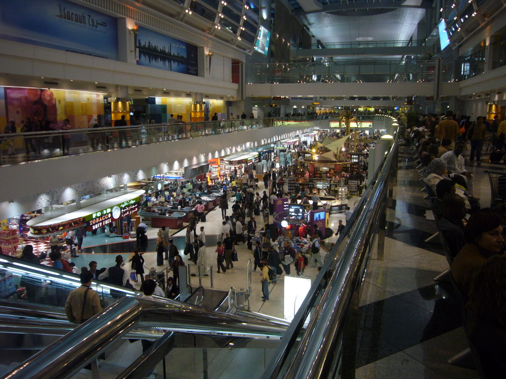 Departure Hall of Dubai International Airport, viewed from the first floor