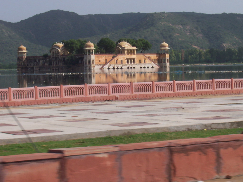 The Jal Mahal palace (`Water Palace`) at the Man Sagar lake, viewed from the car