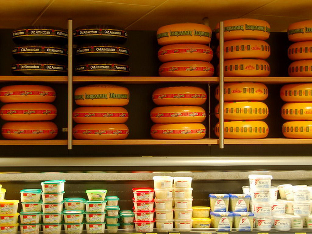 Cheese department in a supermarket