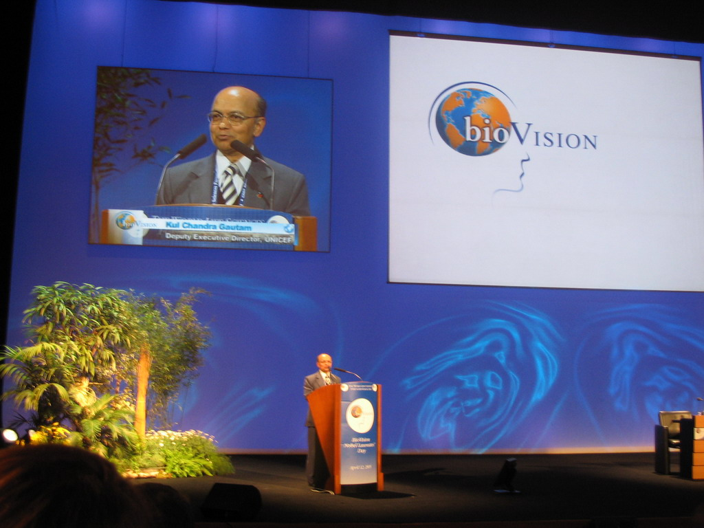 Kul Chandra Gautam, Deputy Executive Director of UNICEF, giving a talk at the World Life Sciences Forum BioVision 2005 conference, at the Centre Congr�s de Lyon conference center