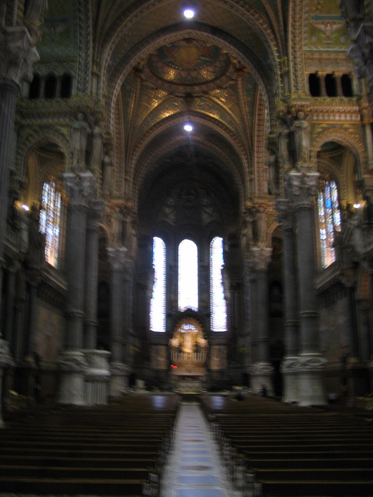 Nave, apse and altar of the Basilica of Notre-Dame de Fourvi�re