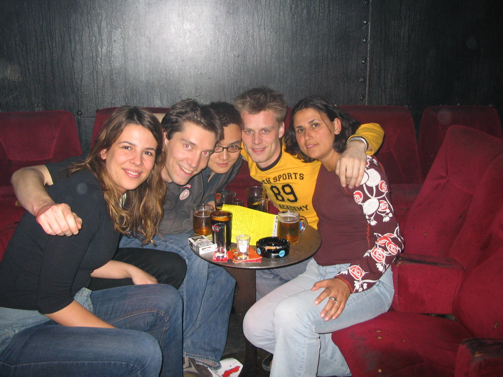 Tim with friends in a pub in the city center