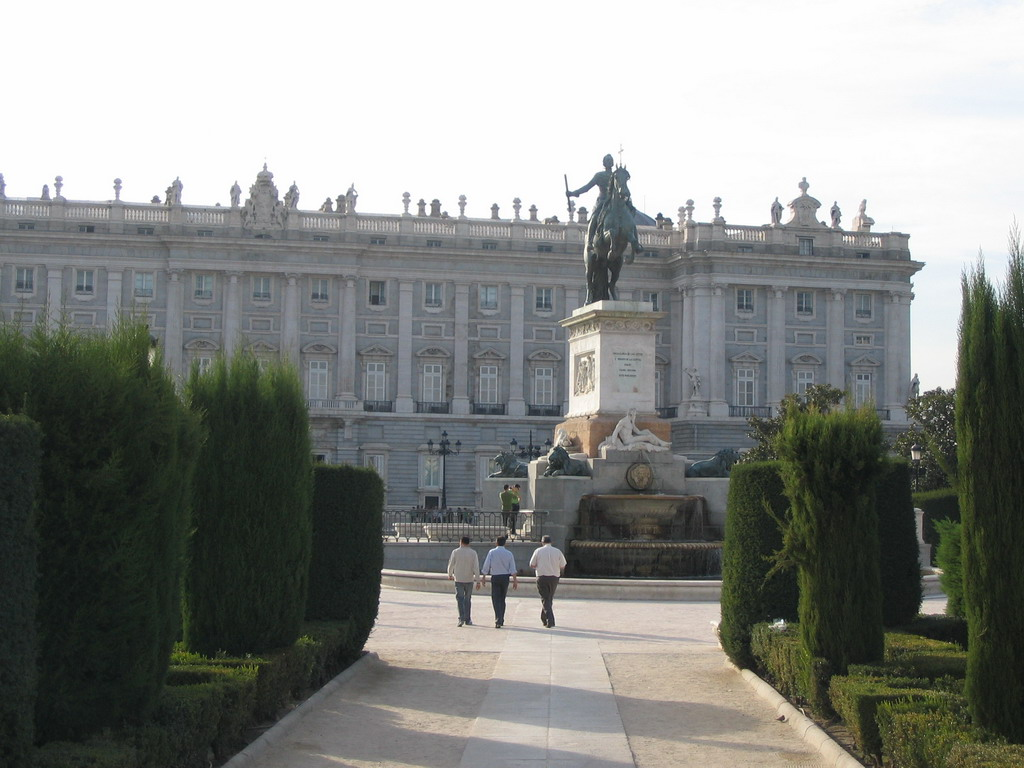 The equestrian statue of Philip IV at the Plaza de Oriente square, and the east side of the Royal Palace (Palacio Real)