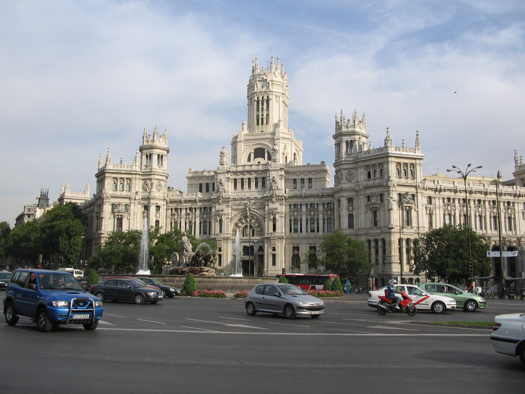 The Palacio de Comunicaciones and Cibeles Fountain at the Plaza de Cibeles square