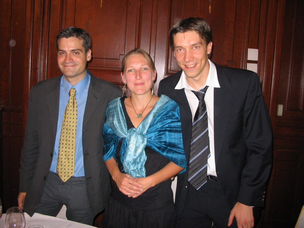 Tim and his friends at the gala dinner of the ECCB 2005 conference at the Casino de Madrid building