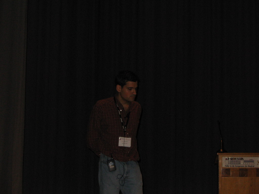 Tim`s friend presenting at the ECCB 2005 conference, at the Palacio de Congresos de Madrid building