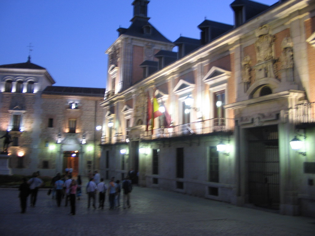 Front of the Casa de la Villa building at the Plaza de la Villa square, at sunset