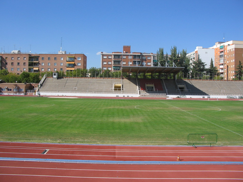 Football field with running track