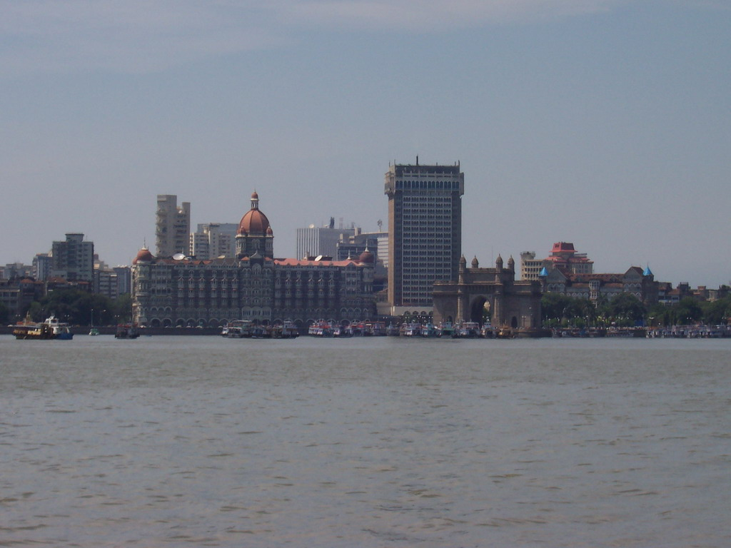 The Taj Mahal Palace & Tower and the Gateway of India, from the boat from Elephanta Island