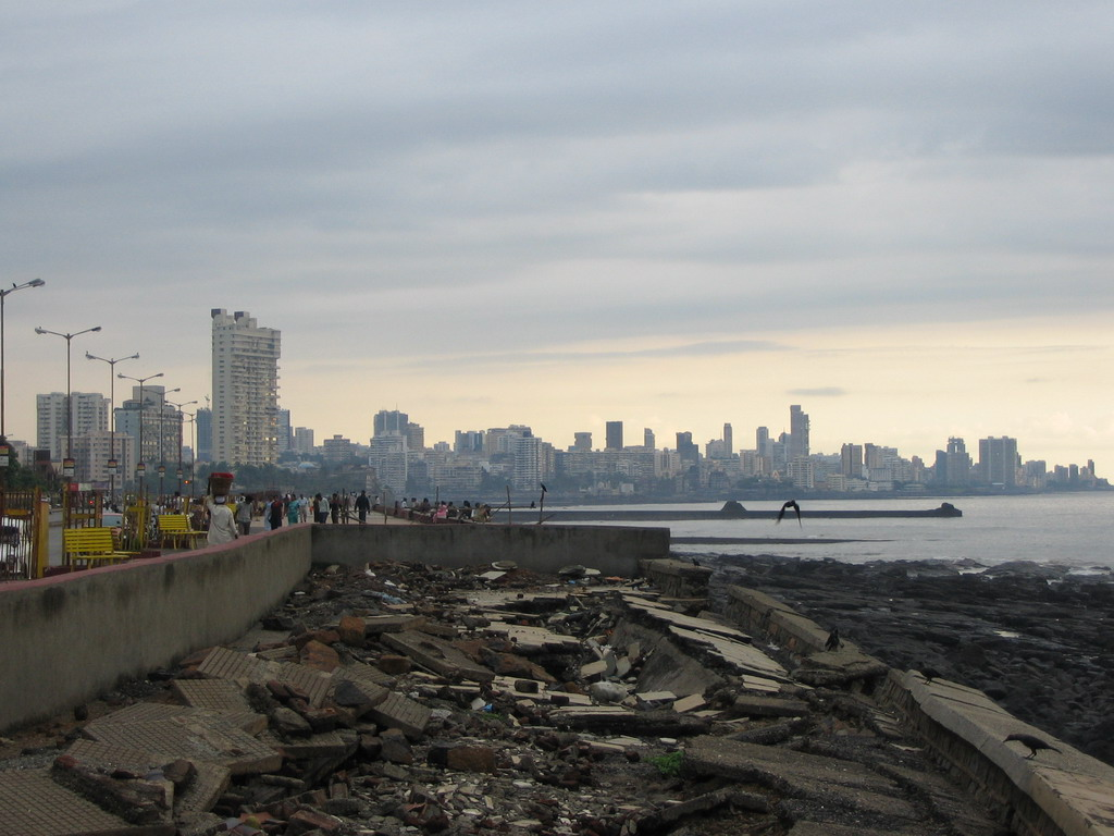 The skyline of Mumbai from a rock beach nearby