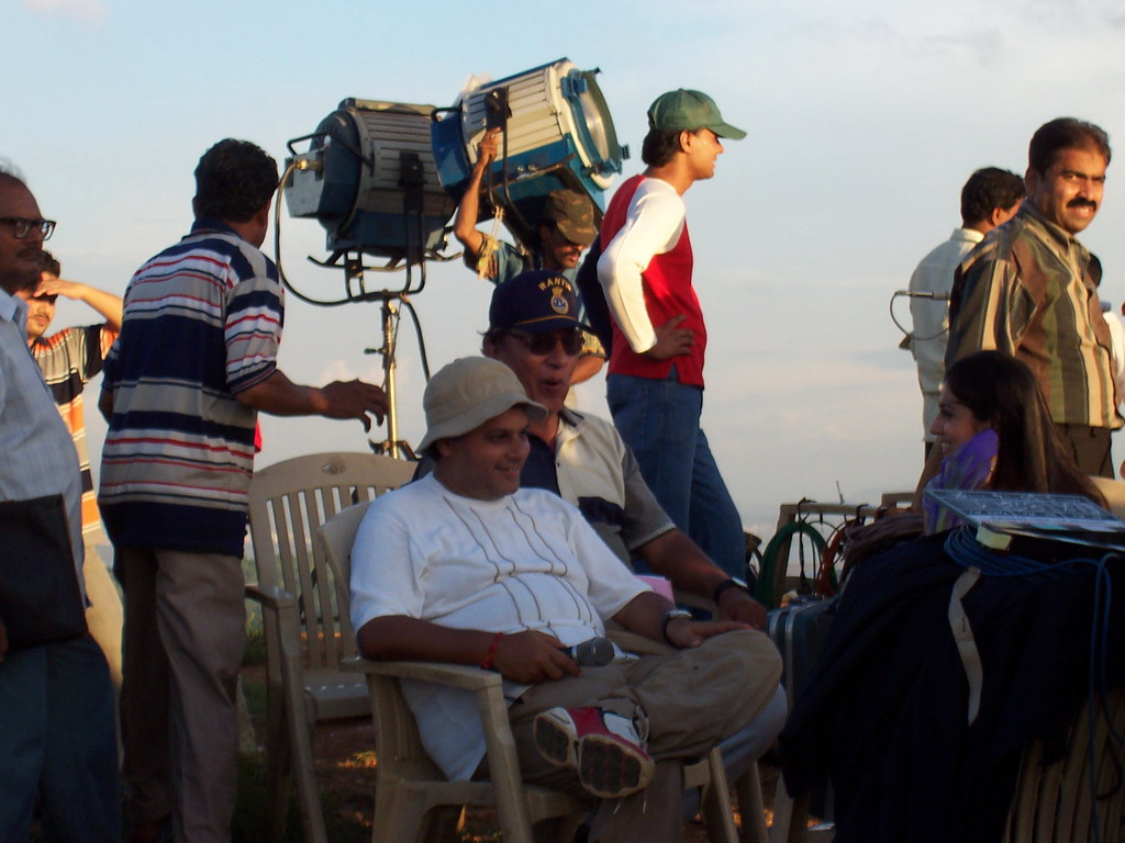 Director at a Bollywood film set at Film City