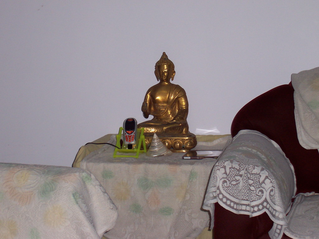 Buddhistic statue on the living room in the apartment of Anand`s family