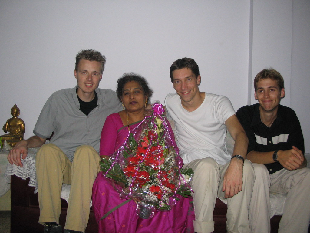Tim, David, Rick and Anand`s mother with our flowers in the apartment of Anand`s family