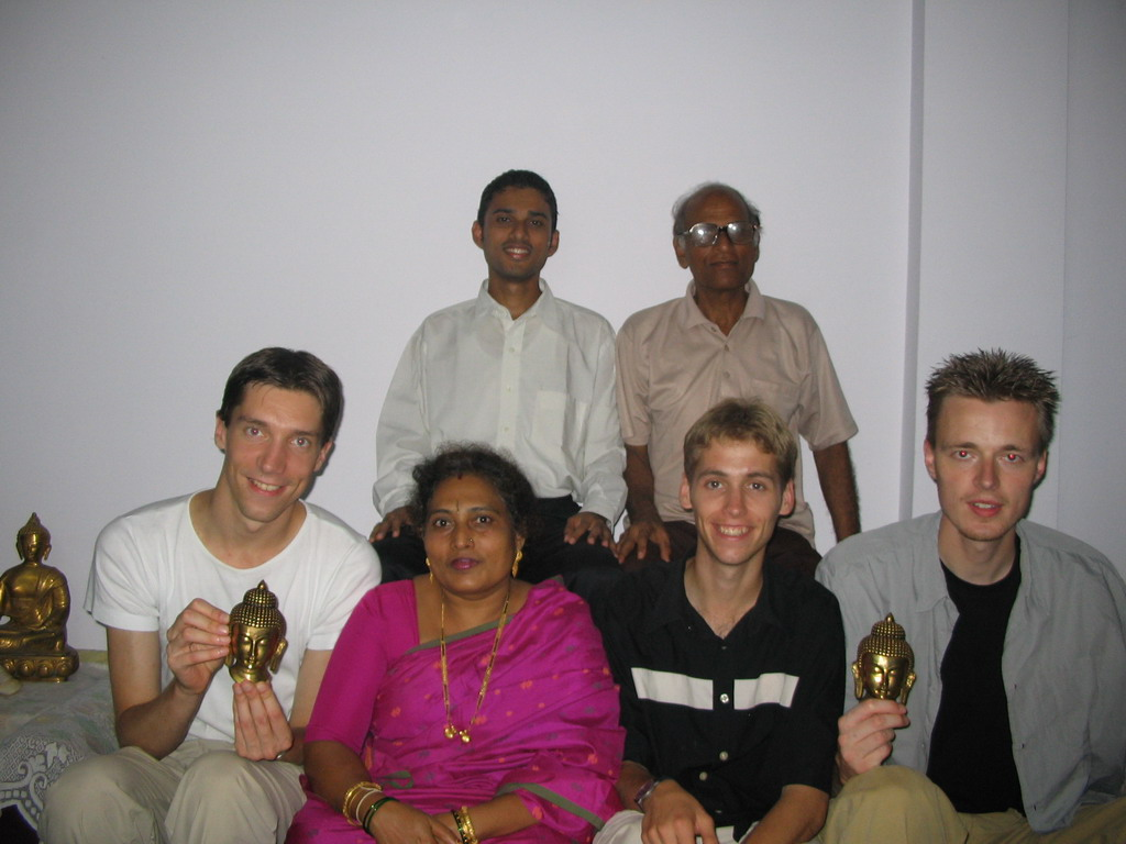 Tim, David, Rick, Chandan and Anand`s parents in the apartment of Anand`s family
