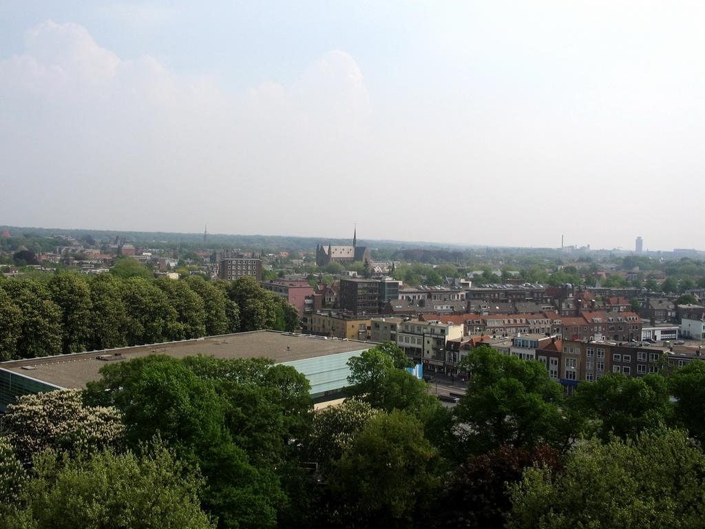 The east side of the city with the Maria Geboortekerk church, viewed from the replica of the Donjon tower at the Valkhof park