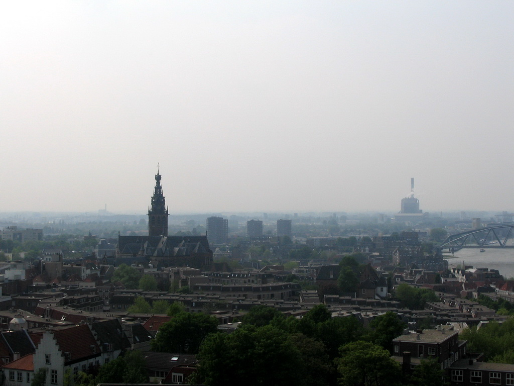 The city center with the Sint-Stevenskerk church, viewed from the replica of the Donjon tower at the Valkhof park