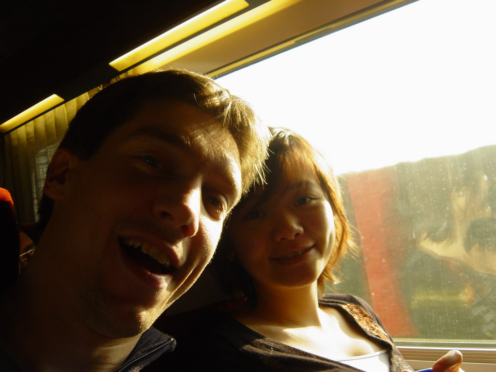 Tim and Miaomiao in the TGV train to Paris