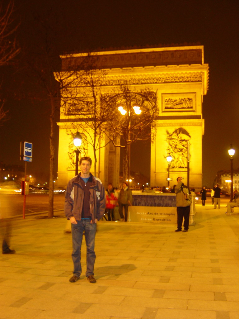 Tim at the Arc de Triomphe, by night